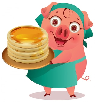 Female pig cook keep stack of pancakes shrovetide