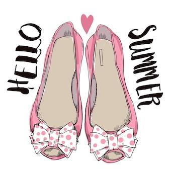 弓と女性のピンクの靴。ベクトルイラスト