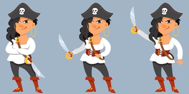 다른 포즈의 여성 해적입니다.