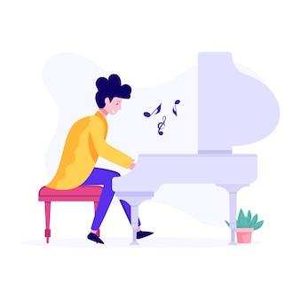 음악가 벡터의 개념을 보여주는 여성 연주 피아노