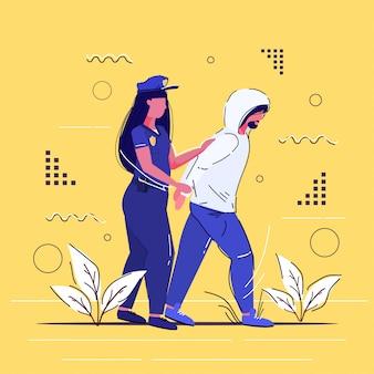 여성 경찰관 제복을 입은 범죄 경찰관을 체포 용의자 도둑 보안 기관 정의 법률 서비스 개념 스케치 전체 길이