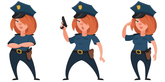Female police officer in different poses. beautiful character in cartoon style.