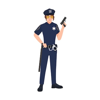 Female police officer wearing uniform, cap and sunglasses and holding gun. woman cop or policewoman. cartoon character isolated on white background. colorful vector illustration in flat style.