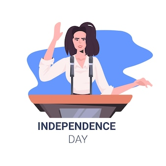Female politician making speech from tribune with usa flag, 4th of july american independence day celebration card