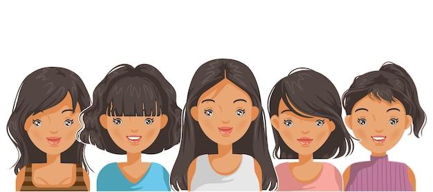 思春期のアジアの女の子のスタイルのための女性の肖像画の顔と髪型