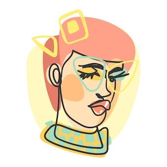 Female portrait in flat design art style