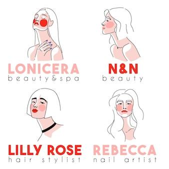 여성 초상화 미리 만들어진 로고 컬렉션