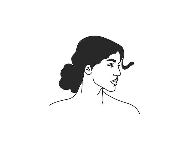 흰색 배경에 고립 된 간단한 스타일의 여성 초상화 신성한 라인 아트 아이콘