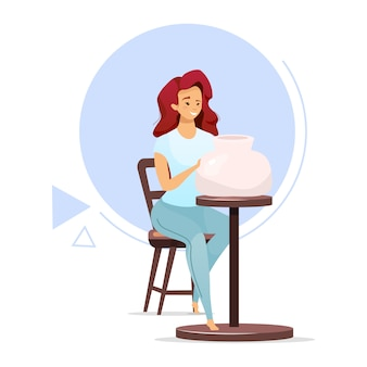 Female pottery maker flat color vector illustration. woman making clay vessel on pottery wheel. clayware production. small business. ceramics manufacturing. isolated cartoon character on white