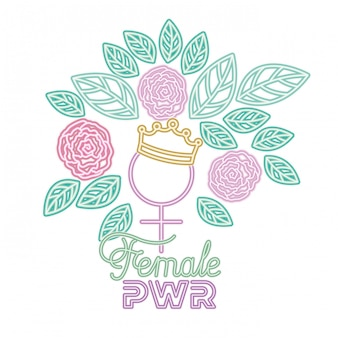 Female power label gender female symbol icons