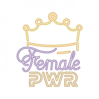 Female power label with crown icons