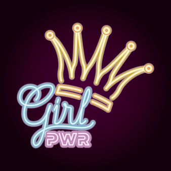 Female power with neon light and queen crown