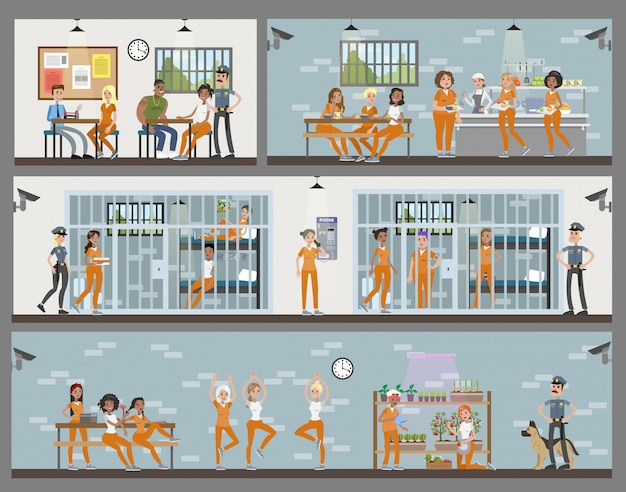 Female prison interior set with rooms and canteen. prisoners with police officers.
