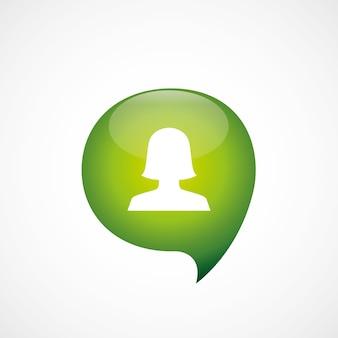 女性のプロフィールアイコン緑の思考バブルシンボルロゴ、白い背景で隔離
