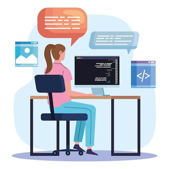 現場の女性プログラマー コンピューター Premiumベクター