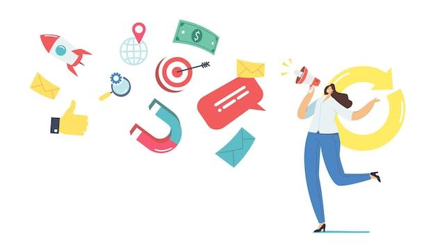 여성 프로모터 캐릭터 360도 마케팅 광고 캠페인. 온라인 홍보 또는 업무. 확성기에 외치는 여자
