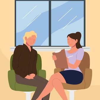 여성 심리학자와 우울한 환자
