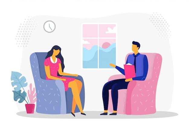 Сеанс женской психотерапии. женщина в депрессии, психиатрия и психологическая терапия. иллюстрация консультации психолога
