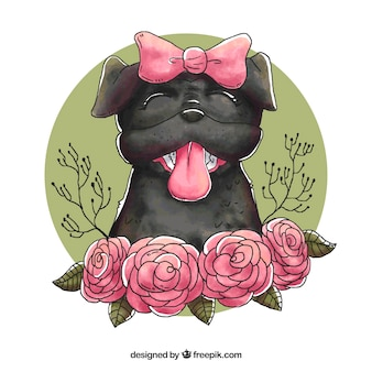 Female pug with hand drawn style