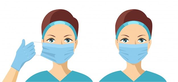 Female putting on medical protective mask to health