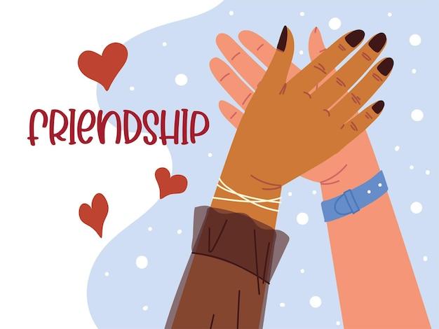 Female raised hands friendship