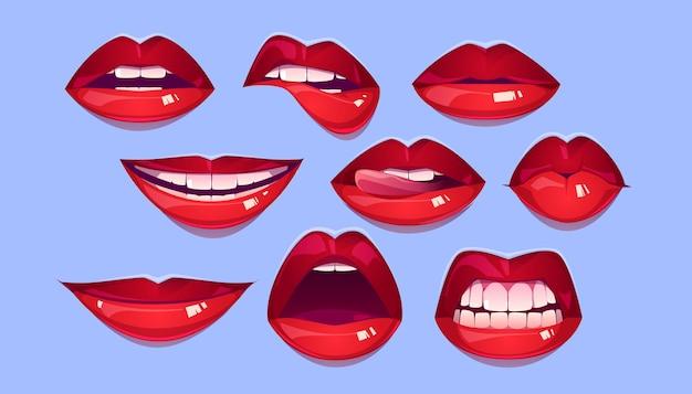여성 붉은 입술 세트