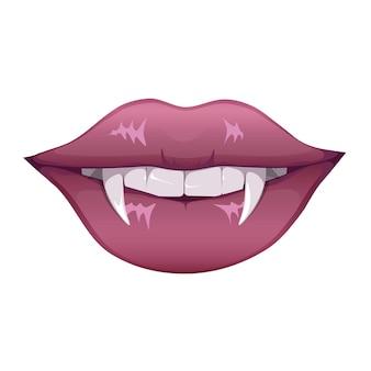 Женские красные губы вампира с клыками. губы с длинными заостренными клыками.