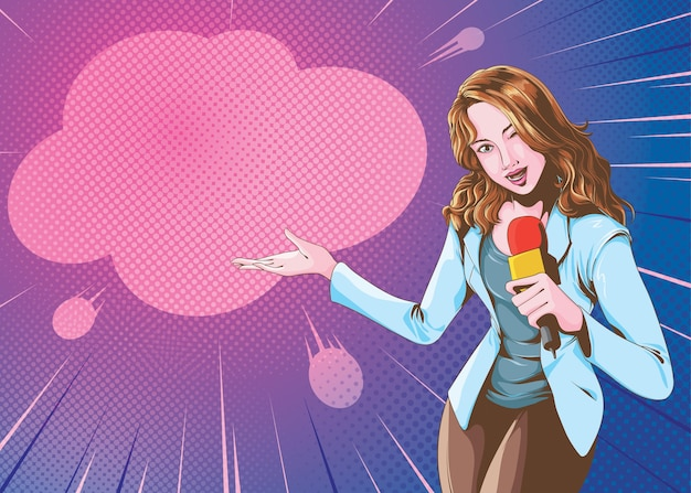Женский репортер в стиле комиксов
