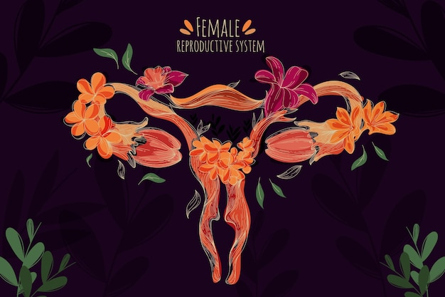 Female reproductive system with flowers