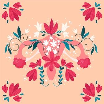 Женская репродуктивная система с цветами