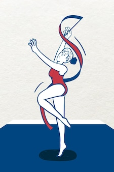 Female rhythmic gymnastic player character vector
