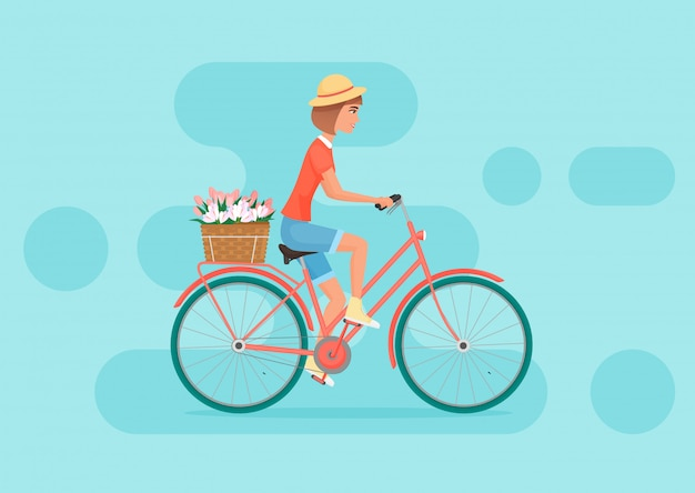 Female riding bicycle