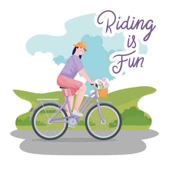 Female riding retro bike
