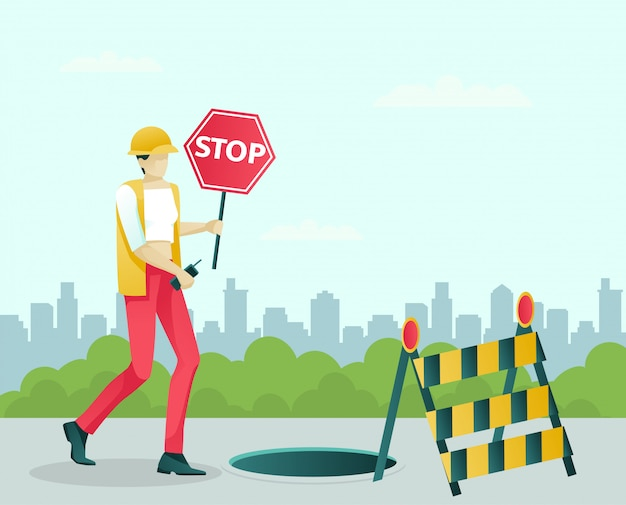 Female road repair specialist character at work