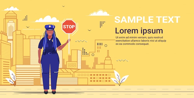 Female road traffic police inspector holding stop sign policewoman officer in uniform security authority justice law service concept flat full length cityscape