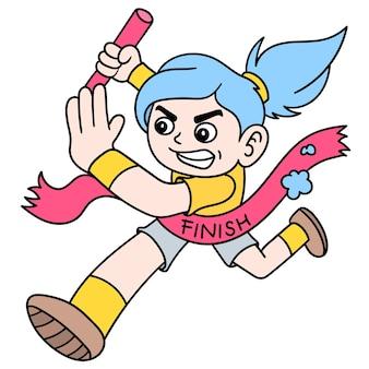 Female runner to win olympics across the finish line ribbon, doodle draw kawaii. illustration art