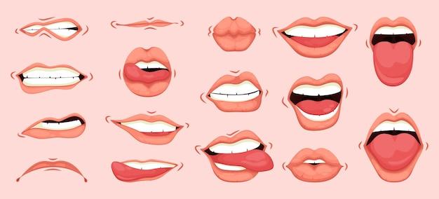 さまざまな感情状態を表現する女性の口。