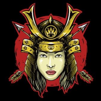 Female samurai with helmet an arrow logo mascot design