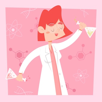 Female scientist being happy in her laboratory
