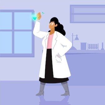 Female scientist colorful illustration