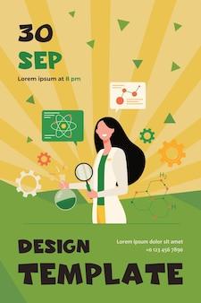 돋보기와 화학 플라스크, 백그라운드에서 분자 모델을 들고 실험실에서 과학적 연구를하는 여성 과학자. 플라이어 템플릿