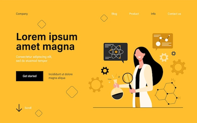 Female scientist doing scientific research in lab landing page in flat style