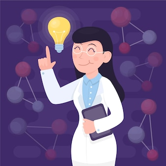 Female scientist having an idea illustrated