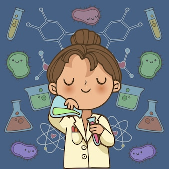 Female scientist illustration character