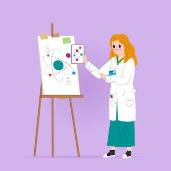 Female scientist illustration concept