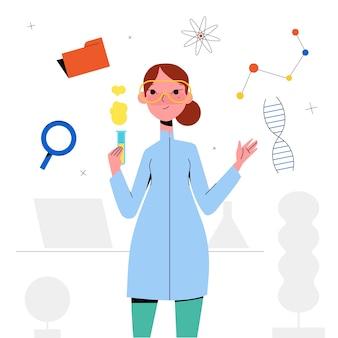 Female scientist illustration