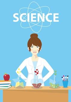 신경망에 연결된 인공 뉴런을 검사하는 실험실 코트를 입은 여성 과학자. 계산 신경 과학, 기계 학습, 과학 연구. 평면 만화 스타일의 벡터 일러스트 레이 션.