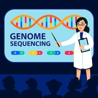 Женщина-ученый делает доклад на конференции по секвенированию генома