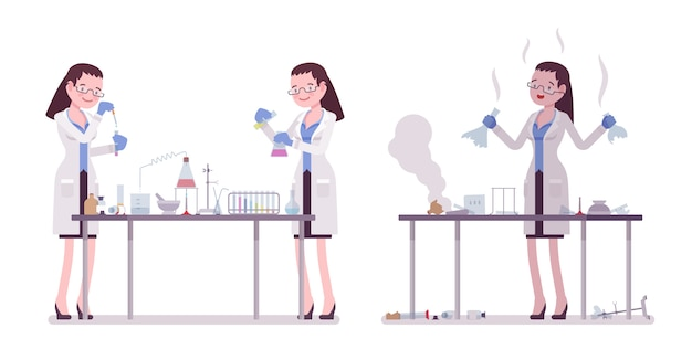Female scientist making chemical experiments