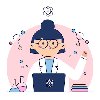 Female scientist surrounded by formulas